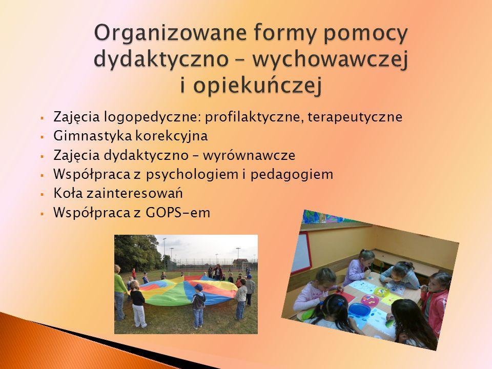 Organizowane formy pomocy dydaktyczno – wychowawczej i opiekuńczej