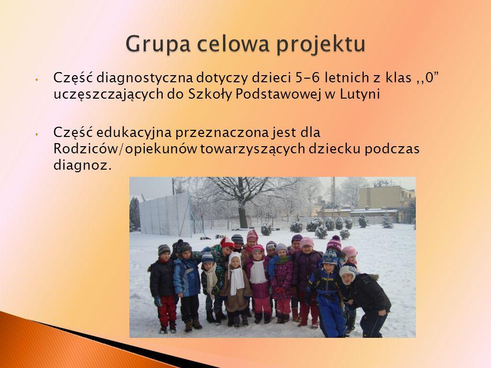 Grupa celowa projektu Część diagnostyczna dotyczy dzieci 5-6 letnich z klas ,,0 uczęszczających do Szkoły Podstawowej w Lutyni.