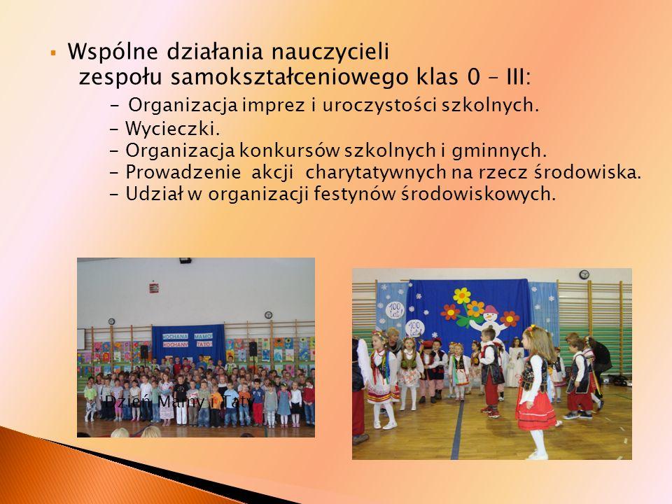 - Organizacja imprez i uroczystości szkolnych.