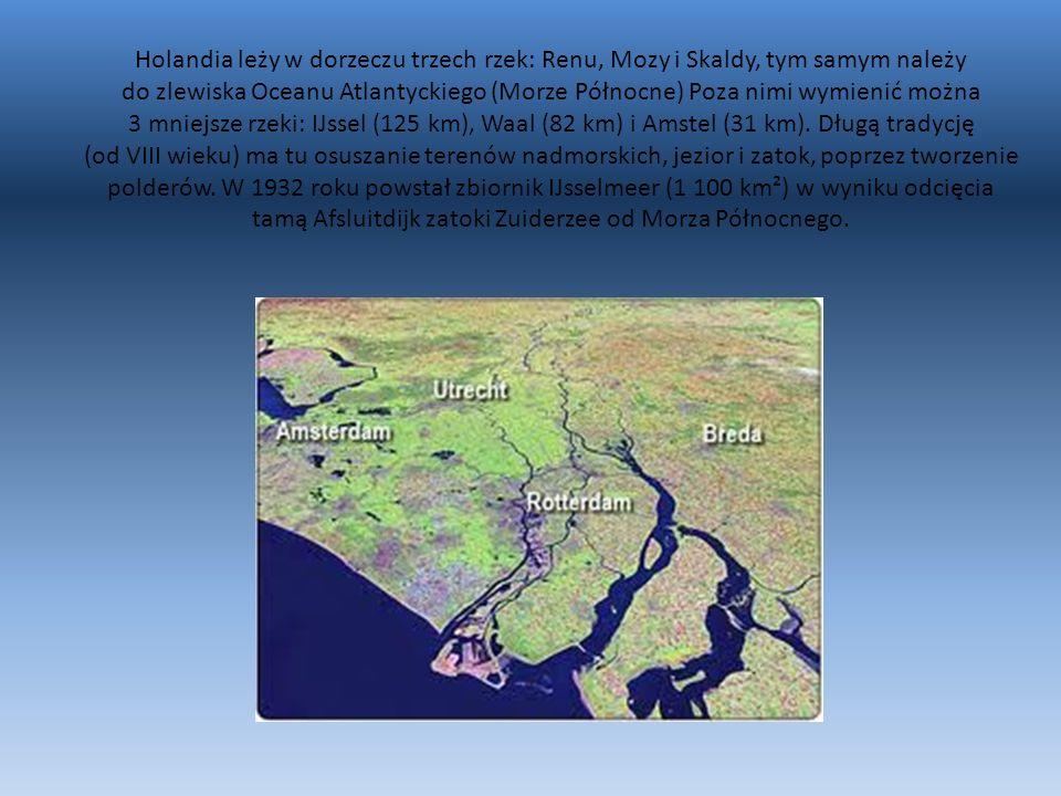 Holandia leży w dorzeczu trzech rzek: Renu, Mozy i Skaldy, tym samym należy do zlewiska Oceanu Atlantyckiego (Morze Północne) Poza nimi wymienić można 3 mniejsze rzeki: IJssel (125 km), Waal (82 km) i Amstel (31 km).