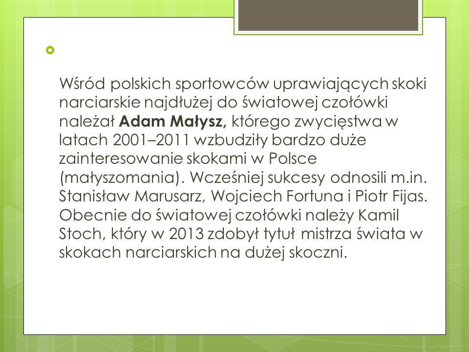 Wśród polskich sportowców uprawiających skoki narciarskie najdłużej do światowej czołówki należał Adam Małysz, którego zwycięstwa w latach 2001–2011 wzbudziły bardzo duże zainteresowanie skokami w Polsce (małyszomania).