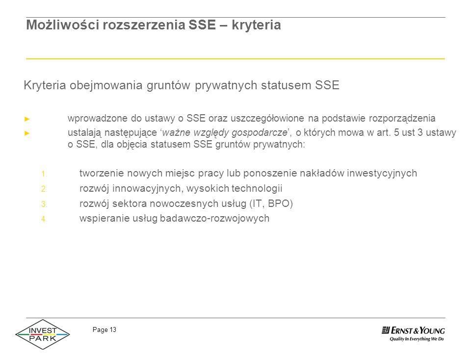 Możliwości rozszerzenia SSE – kryteria