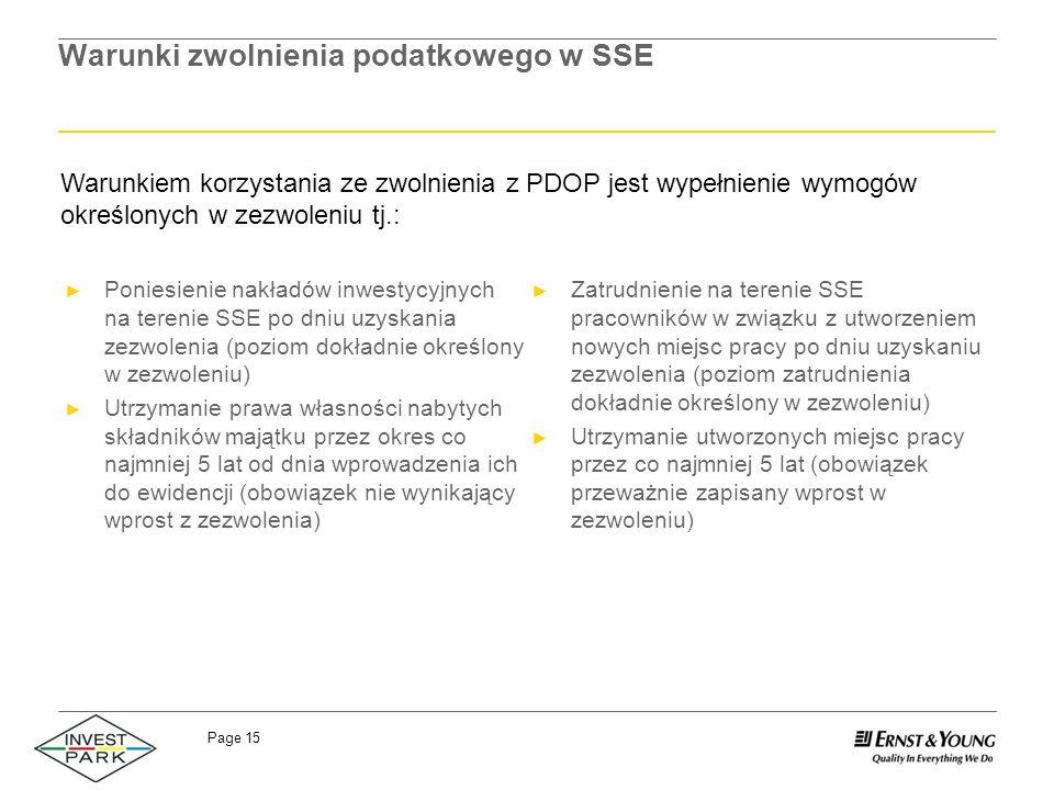 Warunki zwolnienia podatkowego w SSE