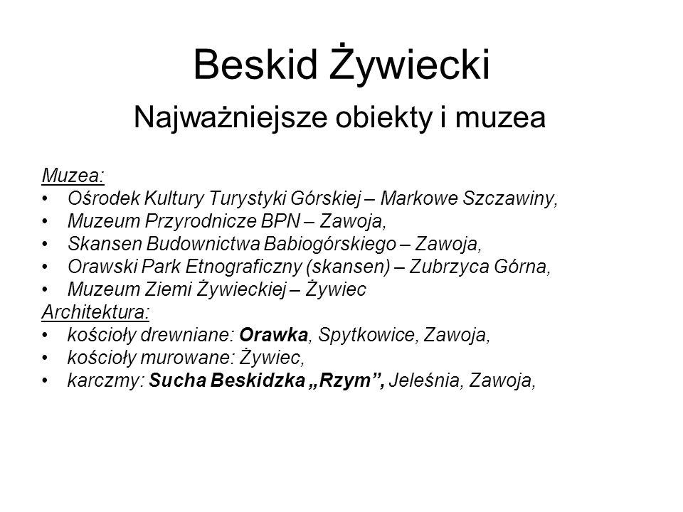 Beskid Żywiecki Najważniejsze obiekty i muzea Muzea: