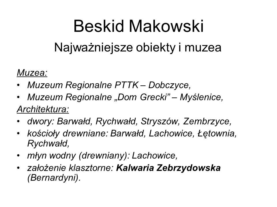 Beskid Makowski Najważniejsze obiekty i muzea Muzea: