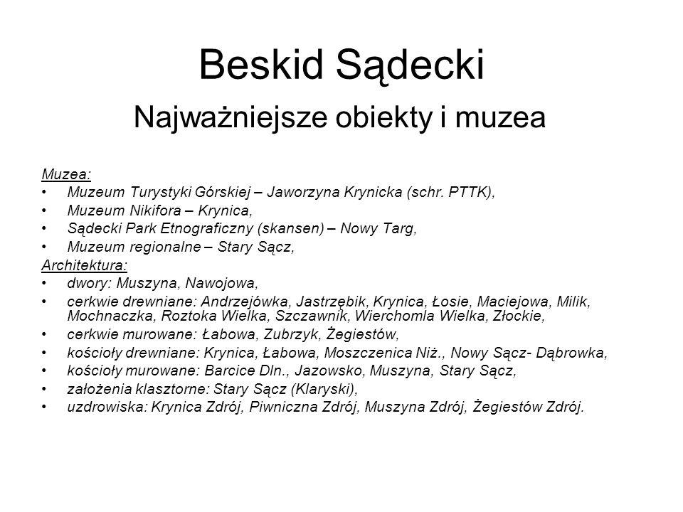 Beskid Sądecki Najważniejsze obiekty i muzea Muzea:
