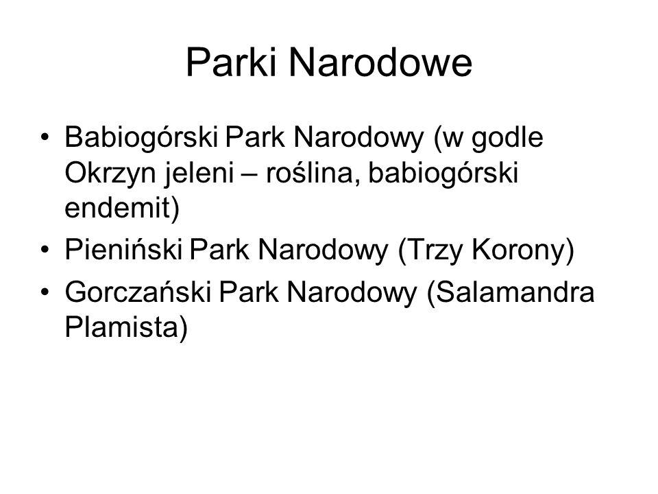 Parki Narodowe Babiogórski Park Narodowy (w godle Okrzyn jeleni – roślina, babiogórski endemit) Pieniński Park Narodowy (Trzy Korony)