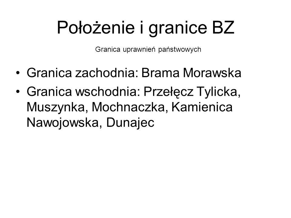 Położenie i granice BZ Granica zachodnia: Brama Morawska