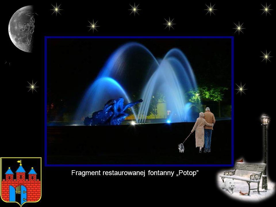 "Fragment restaurowanej fontanny ""Potop"