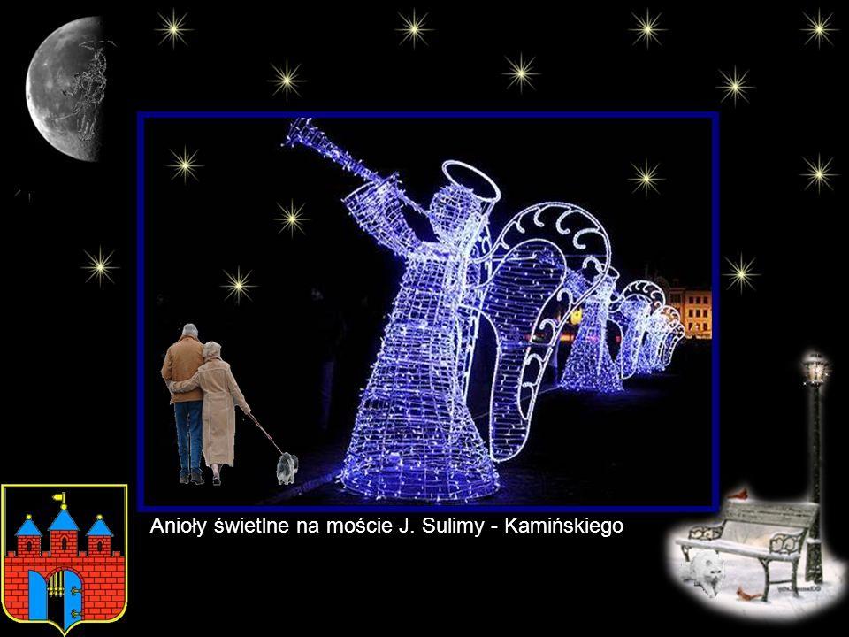 Anioły świetlne na moście J. Sulimy - Kamińskiego