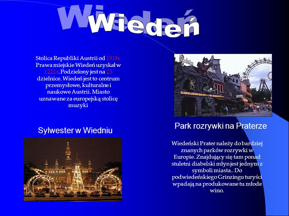 Wiedeń Park rozrywki na Praterze Sylwester w Wiedniu