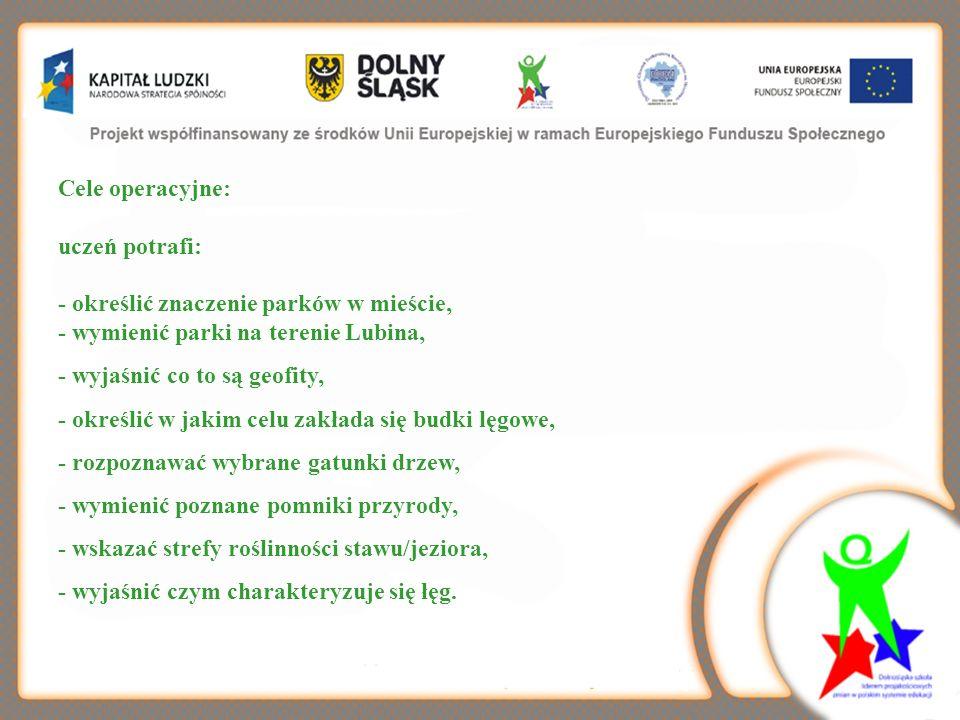 Cele operacyjne: uczeń potrafi: - określić znaczenie parków w mieście, - wymienić parki na terenie Lubina,
