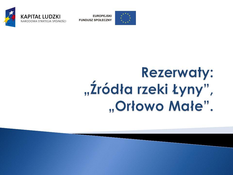 """Rezerwaty: """"Źródła rzeki Łyny , """"Orłowo Małe ."""