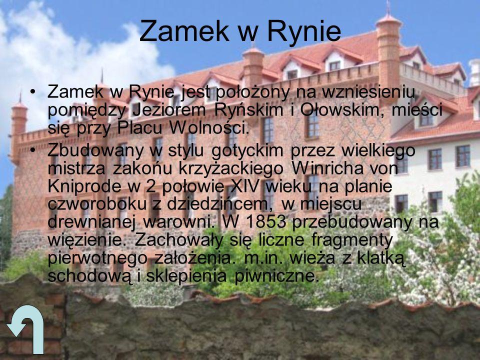Zamek w Rynie Zamek w Rynie jest położony na wzniesieniu pomiędzy Jeziorem Ryńskim i Ołowskim, mieści się przy Placu Wolności.