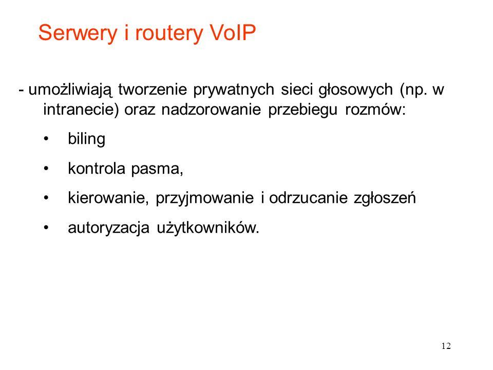 Serwery i routery VoIP - umożliwiają tworzenie prywatnych sieci głosowych (np. w intranecie) oraz nadzorowanie przebiegu rozmów: