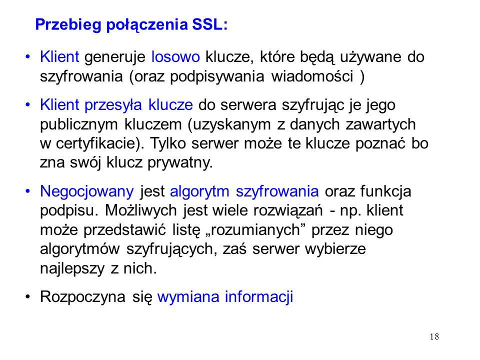 Przebieg połączenia SSL: