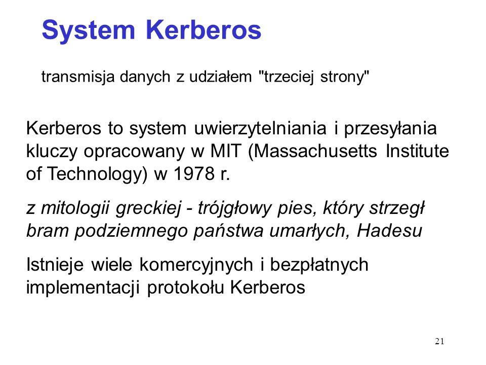 System Kerberos transmisja danych z udziałem trzeciej strony