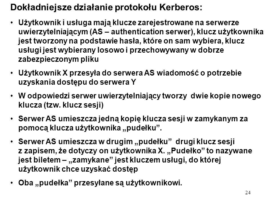 Dokładniejsze działanie protokołu Kerberos: