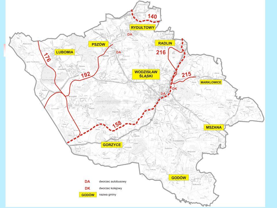 Charakterystyka powiatu wodzisławskiego Komunikacja publiczna szynowa