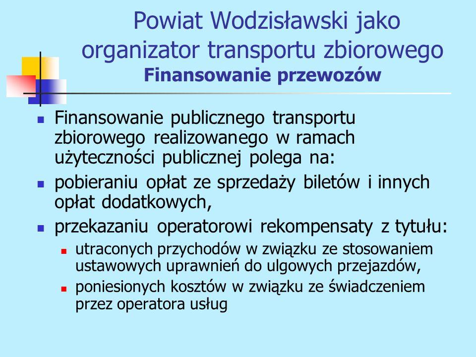 Powiat Wodzisławski jako organizator transportu zbiorowego Finansowanie przewozów