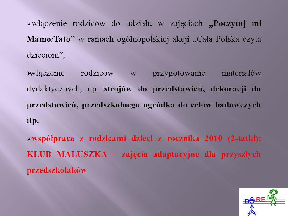 """włączenie rodziców do udziału w zajęciach """"Poczytaj mi Mamo/Tato w ramach ogólnopolskiej akcji """"Cała Polska czyta dzieciom ,"""