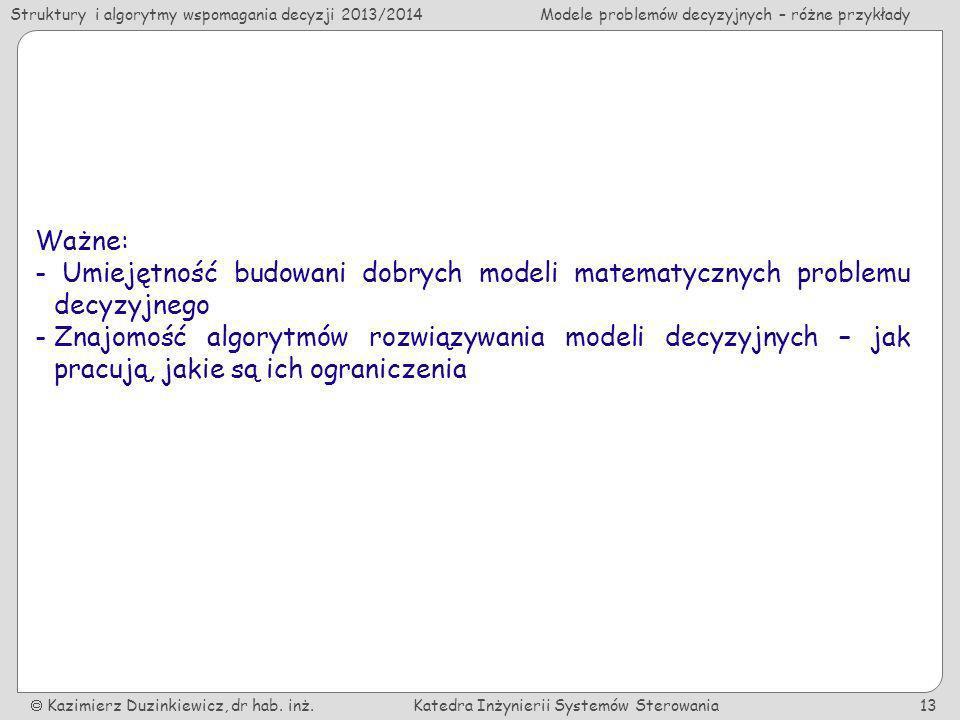 Ważne:Umiejętność budowani dobrych modeli matematycznych problemu decyzyjnego.
