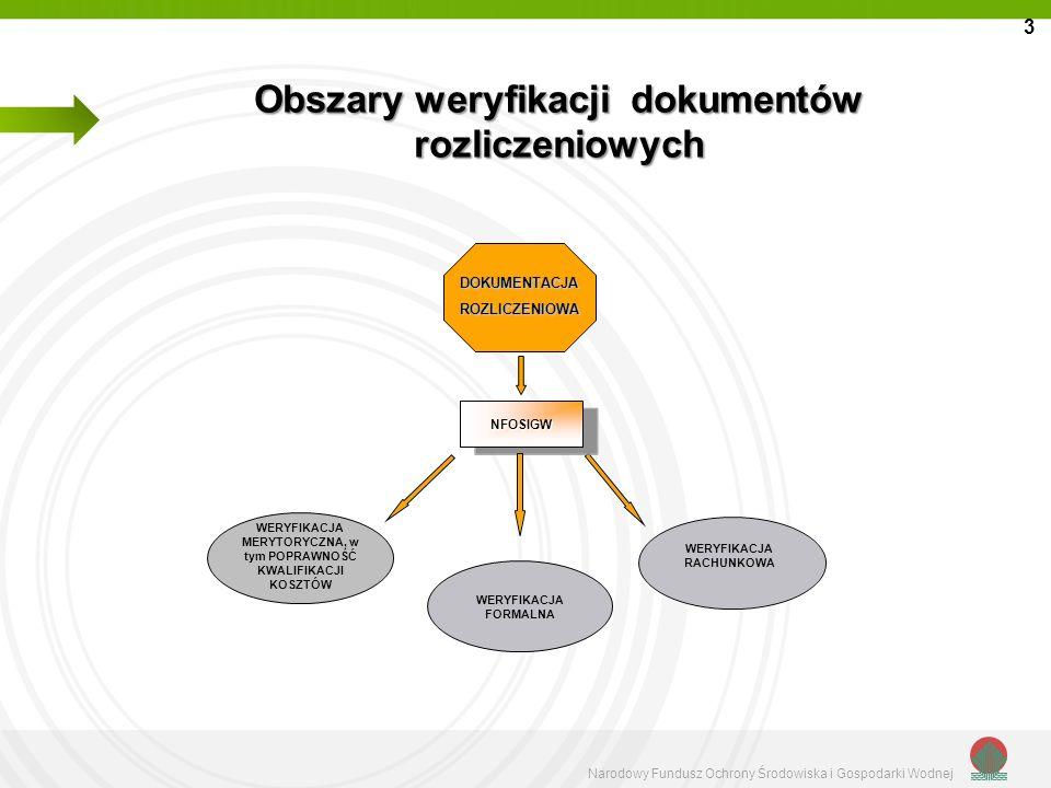 Obszary weryfikacji dokumentów rozliczeniowych