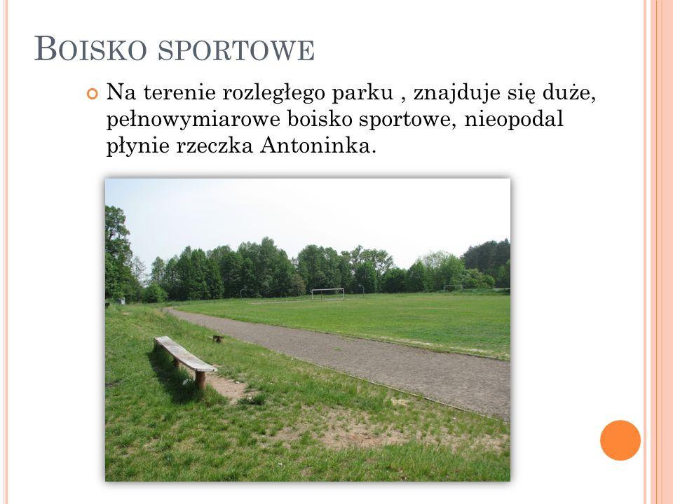 Boisko sportowe Na terenie rozległego parku , znajduje się duże, pełnowymiarowe boisko sportowe, nieopodal płynie rzeczka Antoninka.