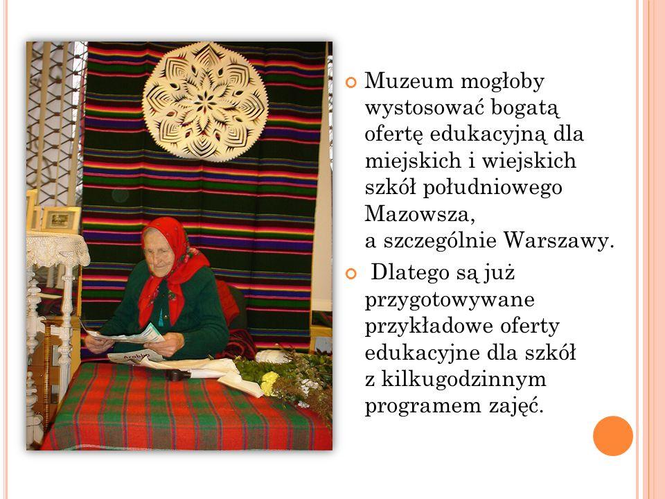 Muzeum mogłoby wystosować bogatą ofertę edukacyjną dla miejskich i wiejskich szkół południowego Mazowsza, a szczególnie Warszawy.