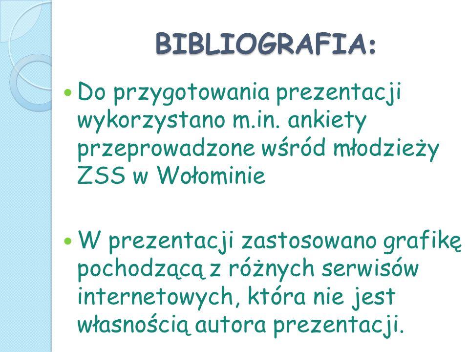 BIBLIOGRAFIA: Do przygotowania prezentacji wykorzystano m.in. ankiety przeprowadzone wśród młodzieży ZSS w Wołominie.