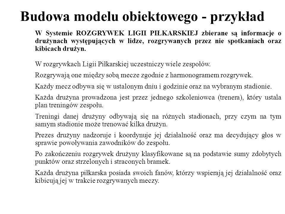 Budowa modelu obiektowego - przykład