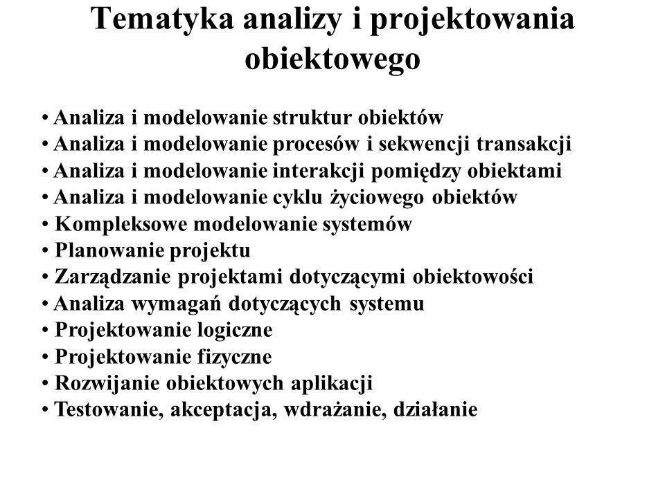 Tematyka analizy i projektowania obiektowego