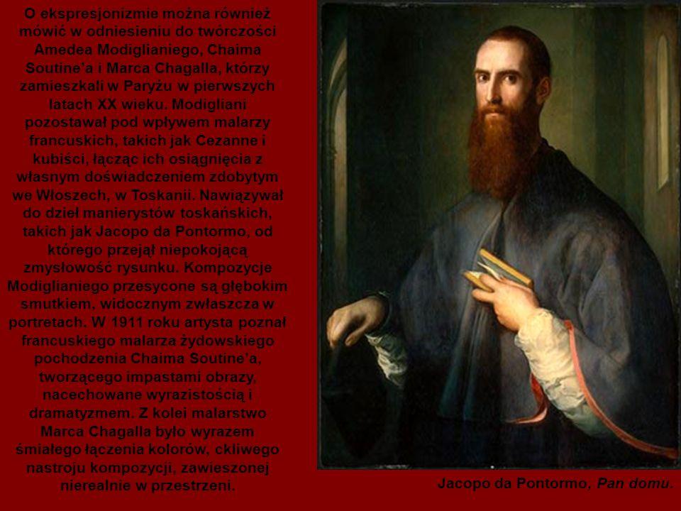 O ekspresjonizmie można również mówić w odniesieniu do twórczości Amedea Modiglianiego, Chaima Soutine'a i Marca Chagalla, którzy zamieszkali w Paryżu w pierwszych latach XX wieku. Modigliani pozostawał pod wpływem malarzy francuskich, takich jak Cezanne i kubiści, łącząc ich osiągnięcia z własnym doświadczeniem zdobytym we Włoszech, w Toskanii. Nawiązywał do dzieł manierystów toskańskich, takich jak Jacopo da Pontormo, od którego przejął niepokojącą zmysłowość rysunku. Kompozycje Modiglianiego przesycone są głębokim smutkiem, widocznym zwłaszcza w portretach. W 1911 roku artysta poznał francuskiego malarza żydowskiego pochodzenia Chaima Soutine'a, tworzącego impastami obrazy, nacechowane wyrazistością i dramatyzmem. Z kolei malarstwo Marca Chagalla było wyrazem śmiałego łączenia kolorów, ckliwego nastroju kompozycji, zawieszonej nierealnie w przestrzeni.