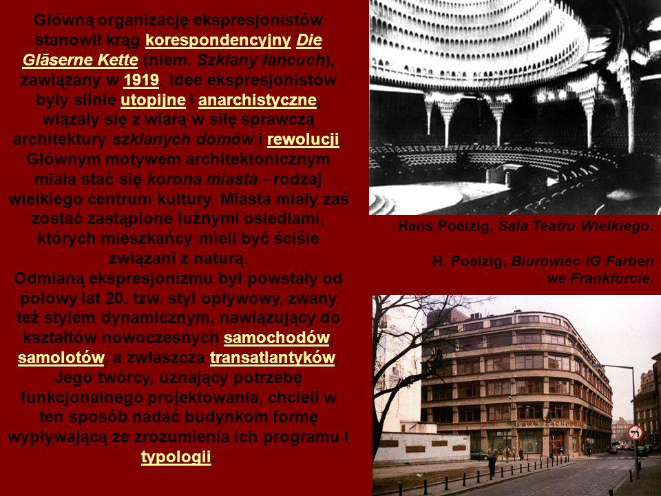 Główną organizację ekspresjonistów stanowił krąg korespondencyjny Die Glāserne Kette (niem. Szklany łańcuch), zawiązany w 1919. Idee ekspresjonistów były silnie utopijne i anarchistyczne, wiązały się z wiarą w siłę sprawczą architektury szklanych domów i rewolucji. Głównym motywem architektonicznym miała stać się korona miasta - rodzaj wielkiego centrum kultury. Miasta miały zaś zostać zastąpione luźnymi osiedlami, których mieszkańcy mieli być ściśle związani z naturą.