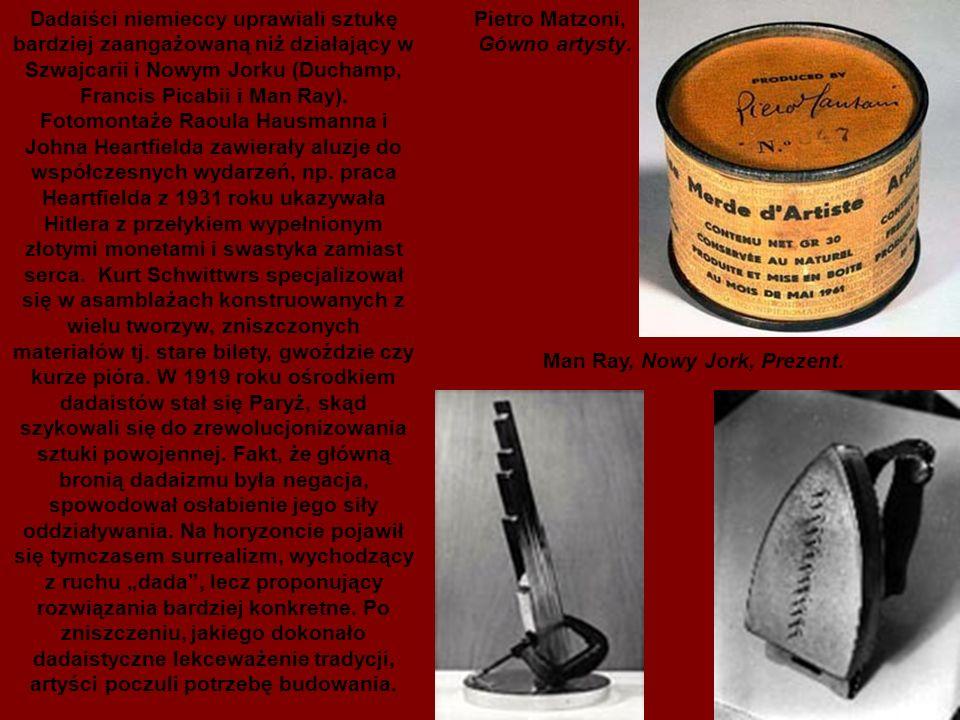 """Dadaiści niemieccy uprawiali sztukę bardziej zaangażowaną niż działający w Szwajcarii i Nowym Jorku (Duchamp, Francis Picabii i Man Ray). Fotomontaże Raoula Hausmanna i Johna Heartfielda zawierały aluzje do współczesnych wydarzeń, np. praca Heartfielda z 1931 roku ukazywała Hitlera z przełykiem wypełnionym złotymi monetami i swastyka zamiast serca. Kurt Schwittwrs specjalizował się w asamblażach konstruowanych z wielu tworzyw, zniszczonych materiałów tj. stare bilety, gwoździe czy kurze pióra. W 1919 roku ośrodkiem dadaistów stał się Paryż, skąd szykowali się do zrewolucjonizowania sztuki powojennej. Fakt, że główną bronią dadaizmu była negacja, spowodował osłabienie jego siły oddziaływania. Na horyzoncie pojawił się tymczasem surrealizm, wychodzący z ruchu """"dada , lecz proponujący rozwiązania bardziej konkretne. Po zniszczeniu, jakiego dokonało dadaistyczne lekceważenie tradycji, artyści poczuli potrzebę budowania."""