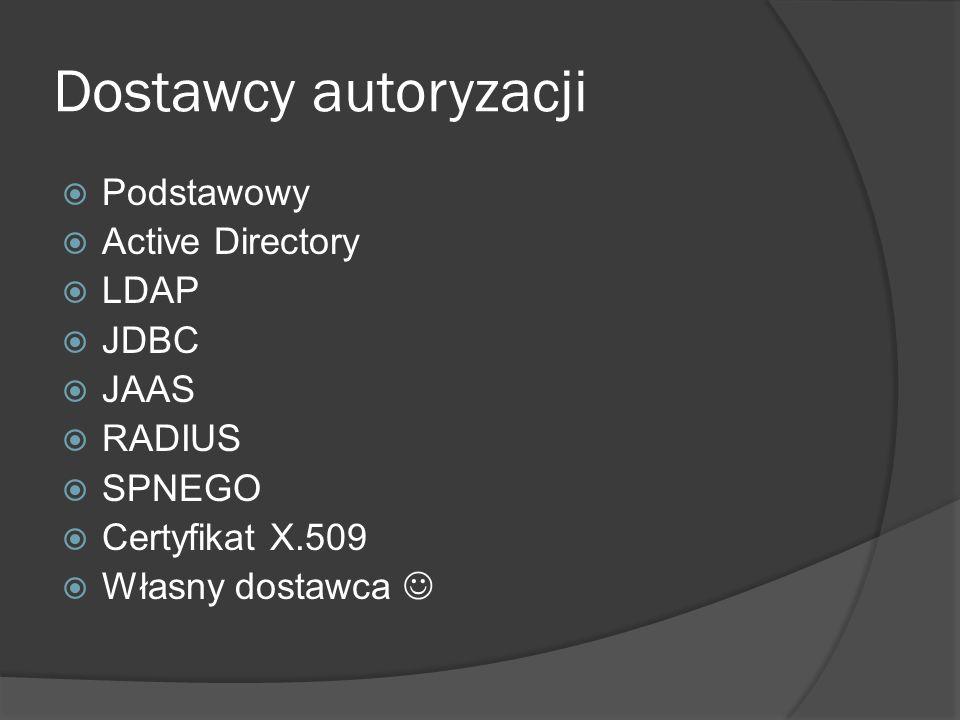 Dostawcy autoryzacji Podstawowy Active Directory LDAP JDBC JAAS RADIUS
