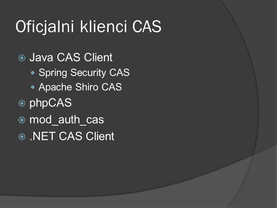Oficjalni klienci CAS Java CAS Client phpCAS mod_auth_cas