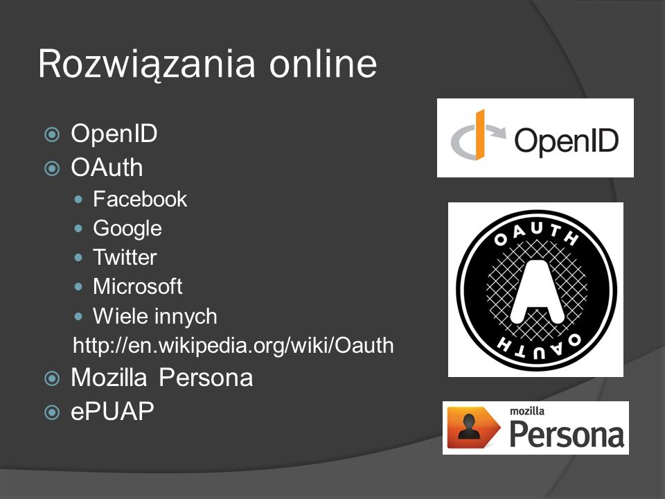 Rozwiązania online OpenID OAuth Mozilla Persona ePUAP Facebook Google
