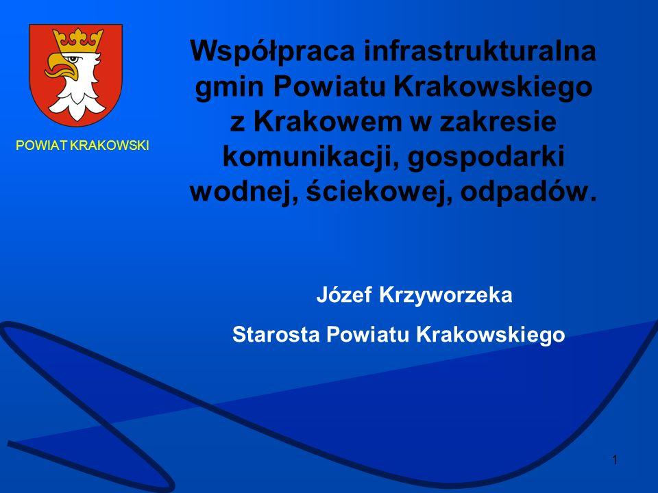 Współpraca infrastrukturalna gmin Powiatu Krakowskiego z Krakowem w zakresie komunikacji, gospodarki wodnej, ściekowej, odpadów.