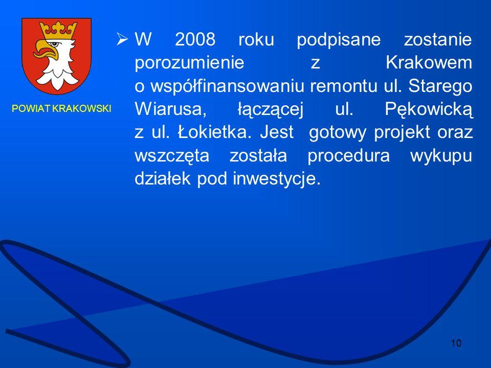 W 2008 roku podpisane zostanie porozumienie z Krakowem o współfinansowaniu remontu ul. Starego Wiarusa, łączącej ul. Pękowicką z ul. Łokietka. Jest gotowy projekt oraz wszczęta została procedura wykupu działek pod inwestycje.