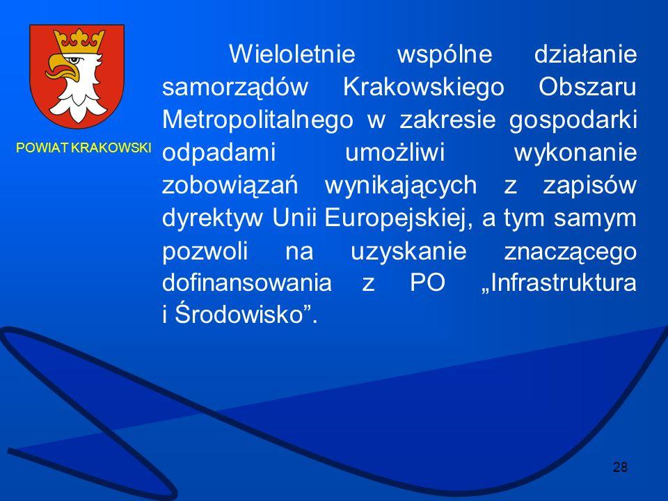 """Wieloletnie wspólne działanie samorządów Krakowskiego Obszaru Metropolitalnego w zakresie gospodarki odpadami umożliwi wykonanie zobowiązań wynikających z zapisów dyrektyw Unii Europejskiej, a tym samym pozwoli na uzyskanie znaczącego dofinansowania z PO """"Infrastruktura i Środowisko ."""