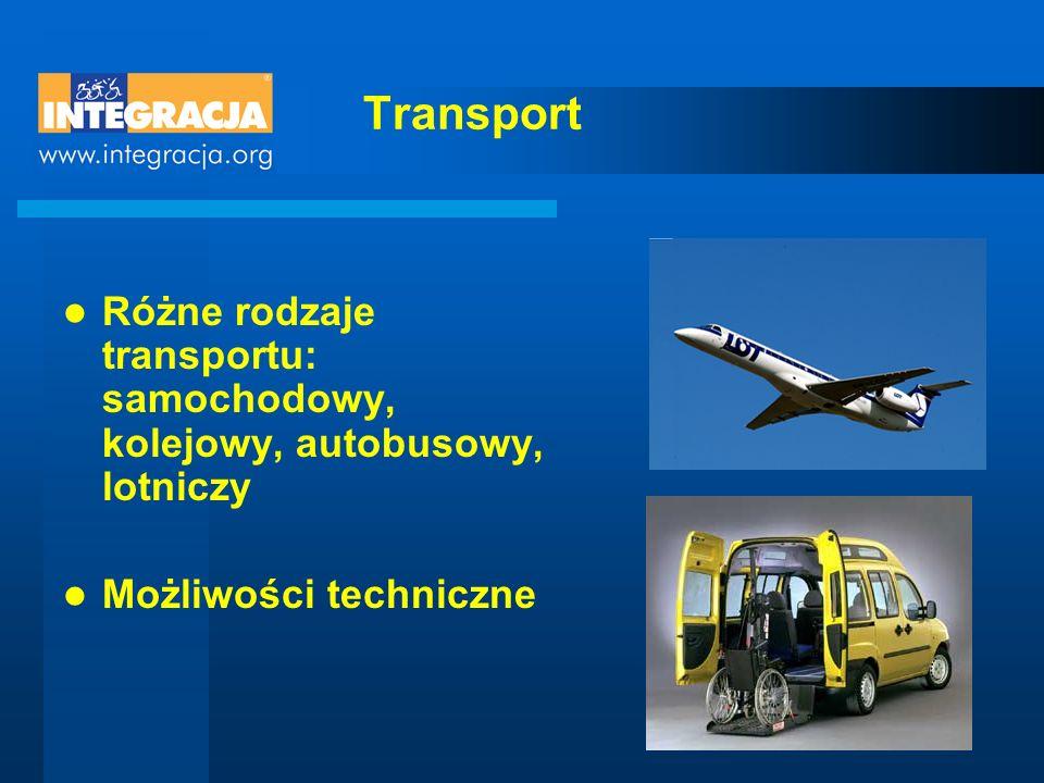 Transport Różne rodzaje transportu: samochodowy, kolejowy, autobusowy, lotniczy.