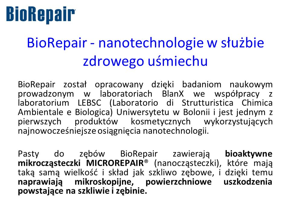 BioRepair - nanotechnologie w służbie zdrowego uśmiechu