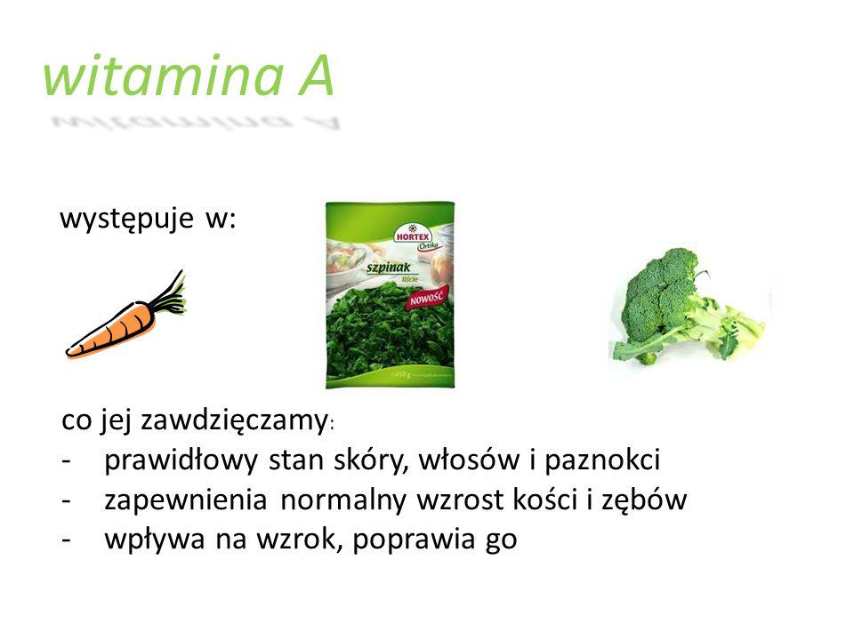 witamina A występuje w: co jej zawdzięczamy: