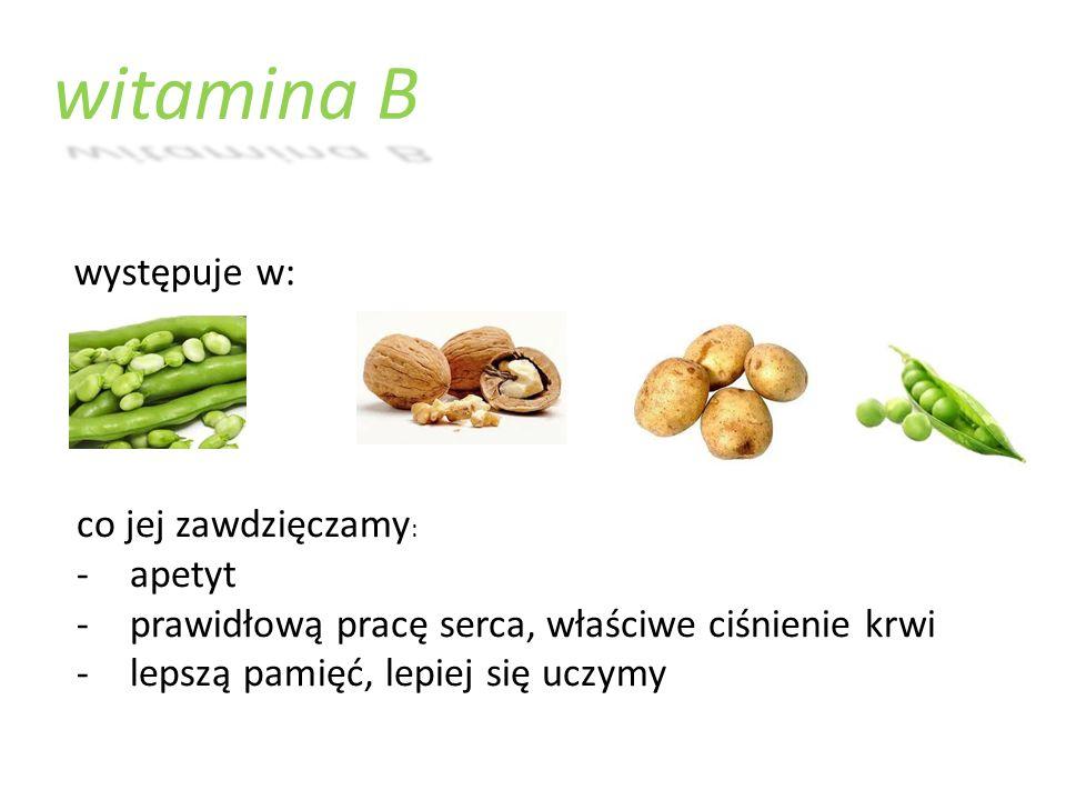 witamina B występuje w: co jej zawdzięczamy: apetyt