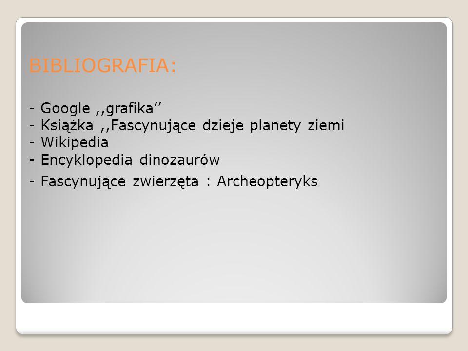 BIBLIOGRAFIA: - Google ,,grafika'' - Książka ,,Fascynujące dzieje planety ziemi - Wikipedia - Encyklopedia dinozaurów - Fascynujące zwierzęta : Archeopteryks