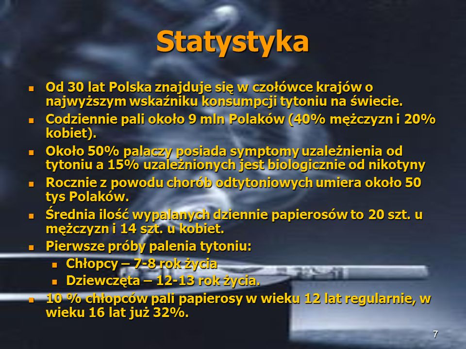 Statystyka Od 30 lat Polska znajduje się w czołówce krajów o najwyższym wskaźniku konsumpcji tytoniu na świecie.