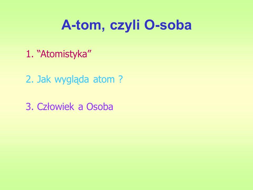 A-tom, czyli O-soba 1. Atomistyka 2. Jak wygląda atom