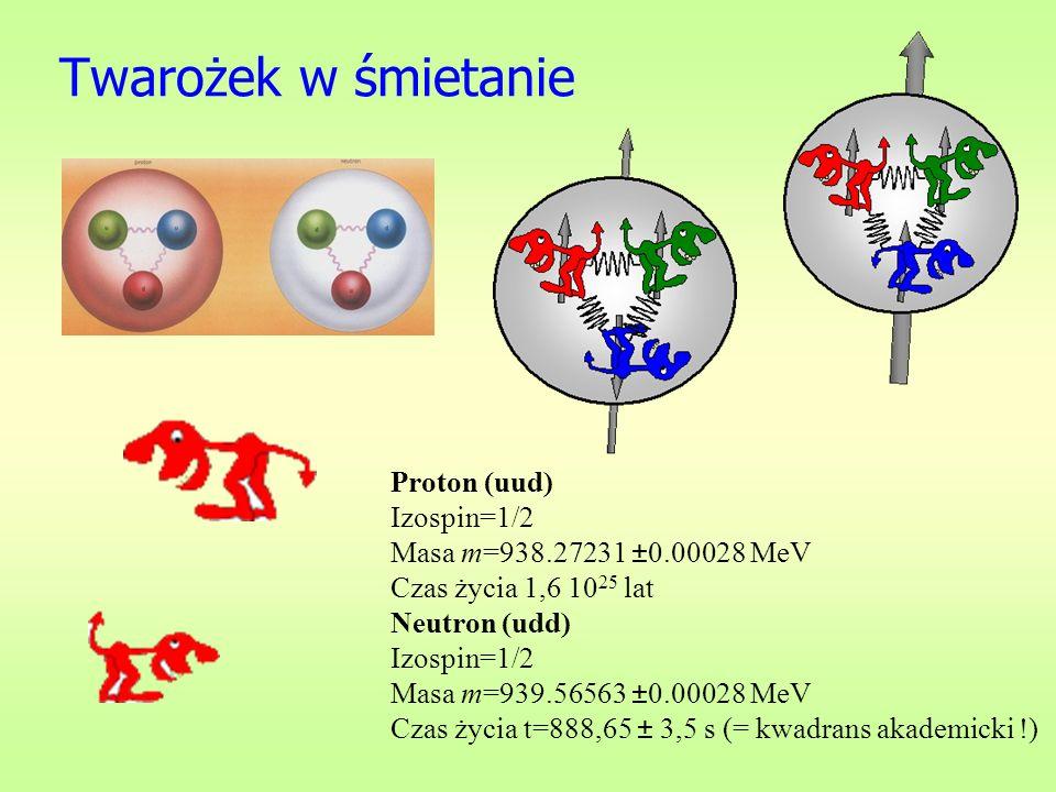 Twarożek w śmietanie Proton (uud) Izospin=1/2 Masa m=938.27231 ±0.00028 MeV Czas życia 1,6 1025 lat.