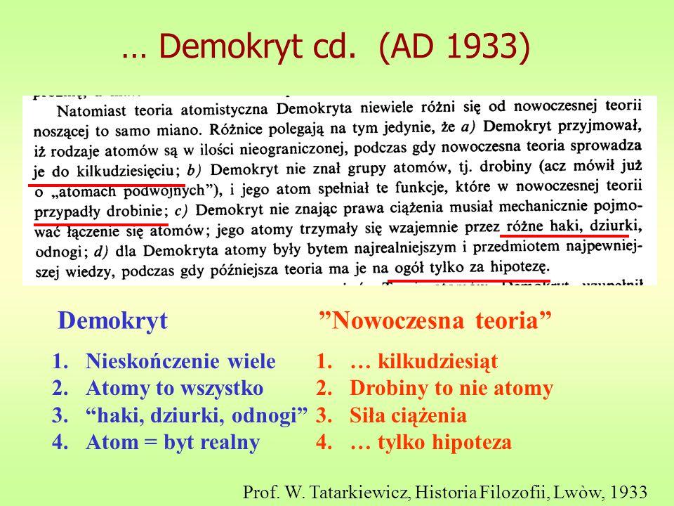 … Demokryt cd. (AD 1933) Demokryt Nowoczesna teoria